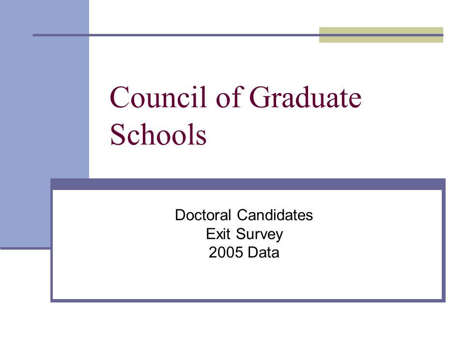 Council of Graduate Schools Doctoral Candidates Exit Survey 2005 Data