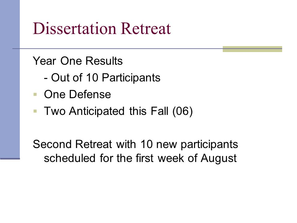 Dissertation Retreat Year One Results - Out of 10 Participants One Defense Two Anticipated this Fall (06) Second Retreat with 10 new participants scheduled for the first week of August