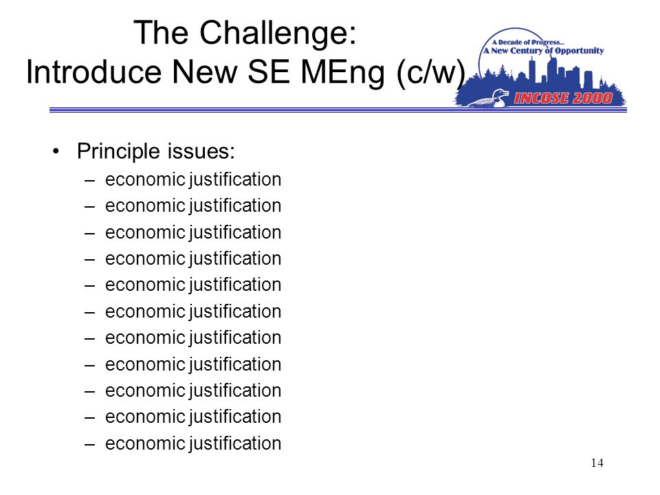 14 The Challenge: Introduce New SE MEng (c/w) Principle issues: –economic justification