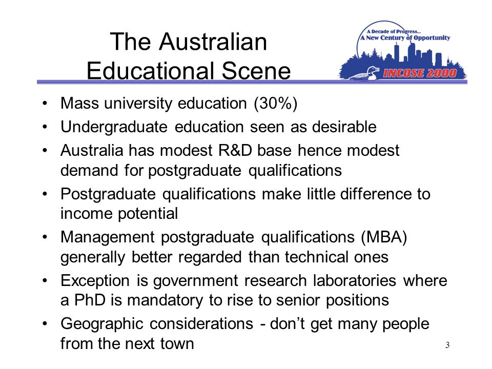3 The Australian Educational Scene Mass university education (30%) Undergraduate education seen as desirable Australia has modest R&D base hence modest demand for postgraduate qualifications Postgraduate qualifications make little difference to income potential Management postgraduate qualifications (MBA) generally better regarded than technical ones Exception is government research laboratories where a PhD is mandatory to rise to senior positions Geographic considerations - dont get many people from the next town