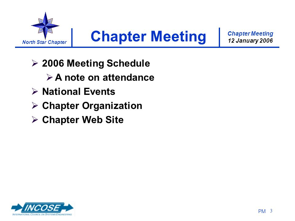 Chapter Meeting 12 January 2006 North Star Chapter PM 3 2006 Meeting Schedule A note on attendance National Events Chapter Organization Chapter Web Site Chapter Meeting