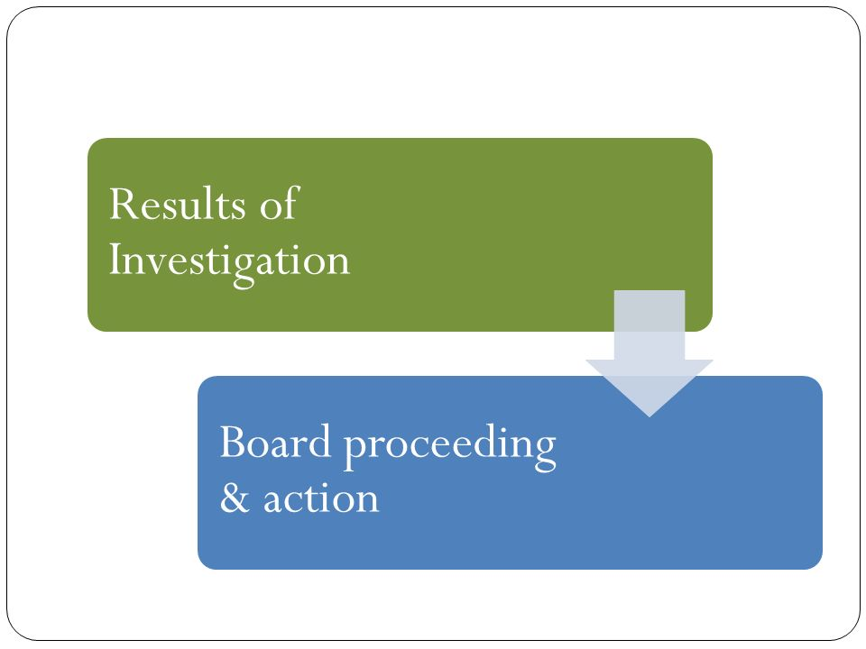 Results of Investigation Board proceeding & action
