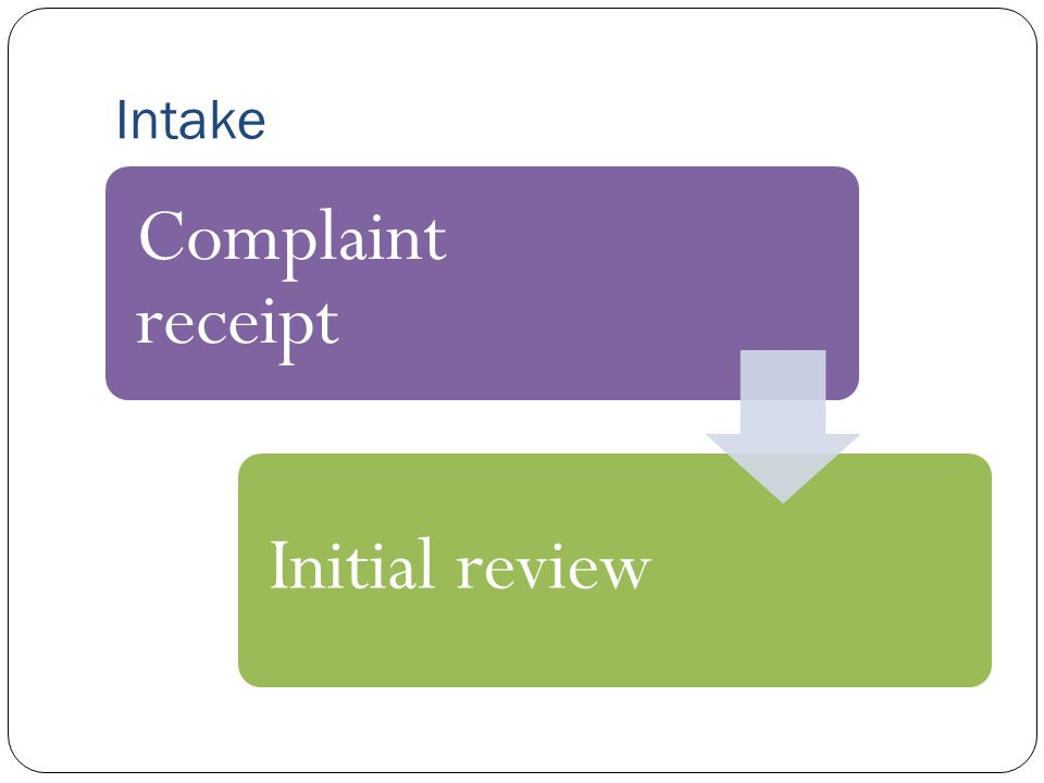 Intake Complaint receipt Initial review