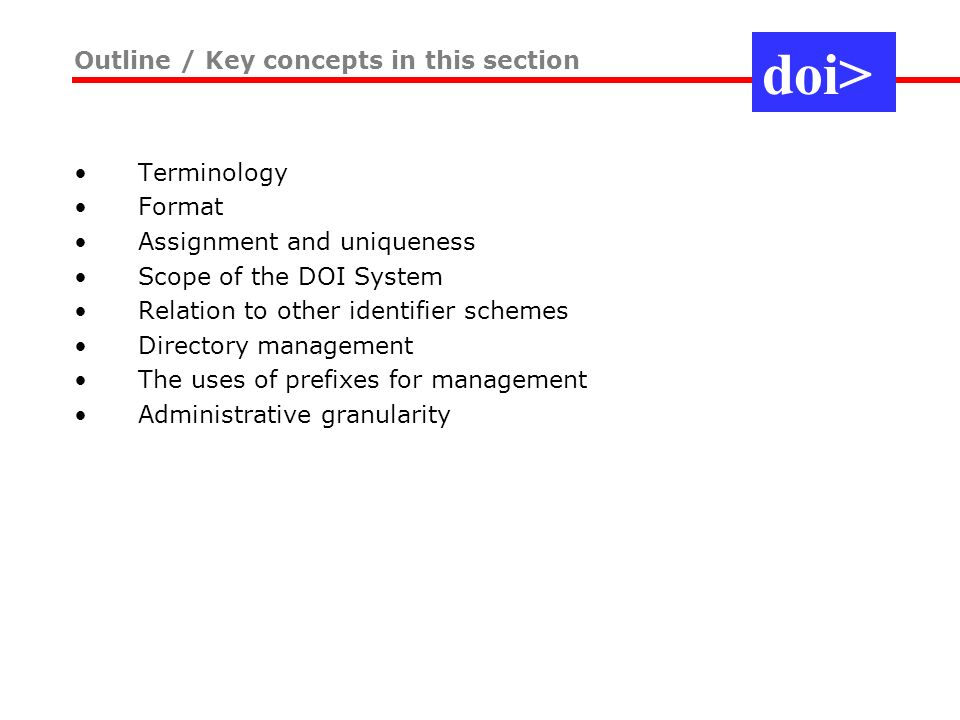 Terminology Format Assignment and uniqueness Scope of the DOI System Relation to other identifier schemes Directory management The uses of prefixes for management Administrative granularity Outline / Key concepts in this section doi>