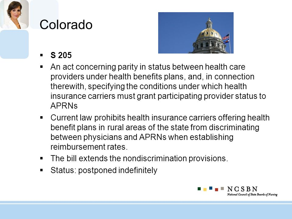 Colorado S 205 An act concerning parity in status between health care providers under health benefits plans, and, in connection therewith, specifying