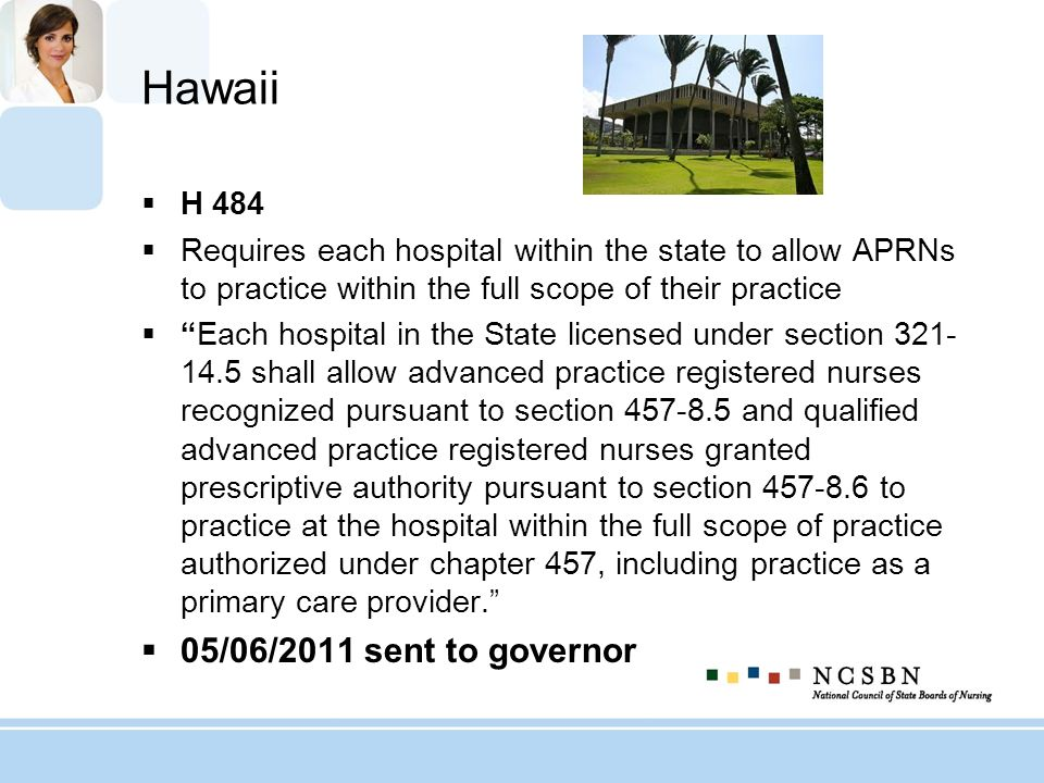 Hawaii H 484 Requires each hospital within the state to allow APRNs to practice within the full scope of their practice Each hospital in the State lic