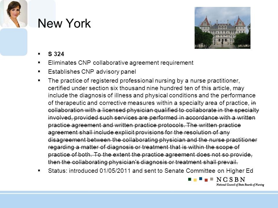 New York S 324 Eliminates CNP collaborative agreement requirement Establishes CNP advisory panel The practice of registered professional nursing by a