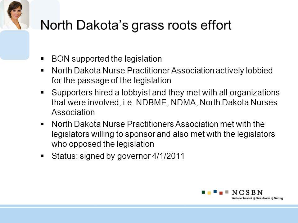 North Dakotas grass roots effort BON supported the legislation North Dakota Nurse Practitioner Association actively lobbied for the passage of the leg