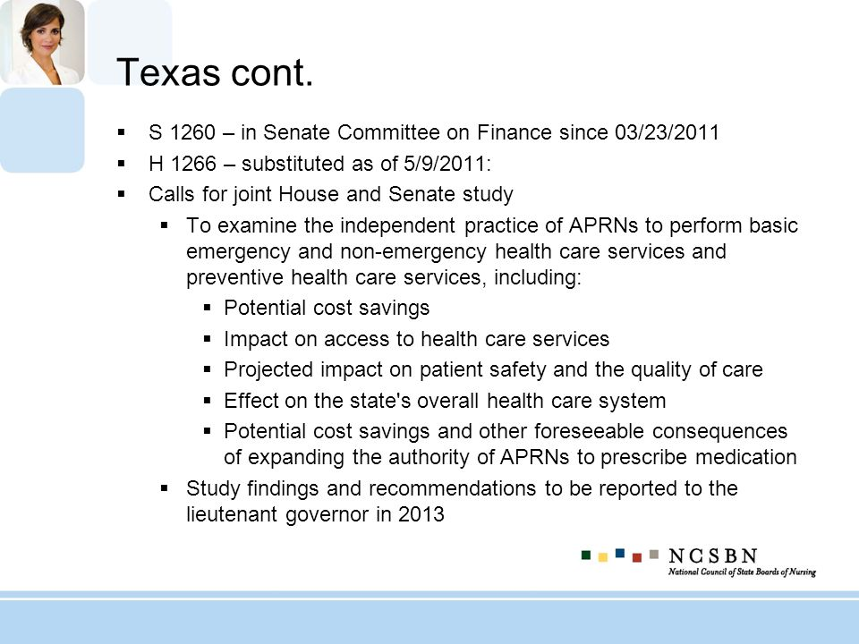 Texas cont. S 1260 – in Senate Committee on Finance since 03/23/2011 H 1266 – substituted as of 5/9/2011: Calls for joint House and Senate study To ex