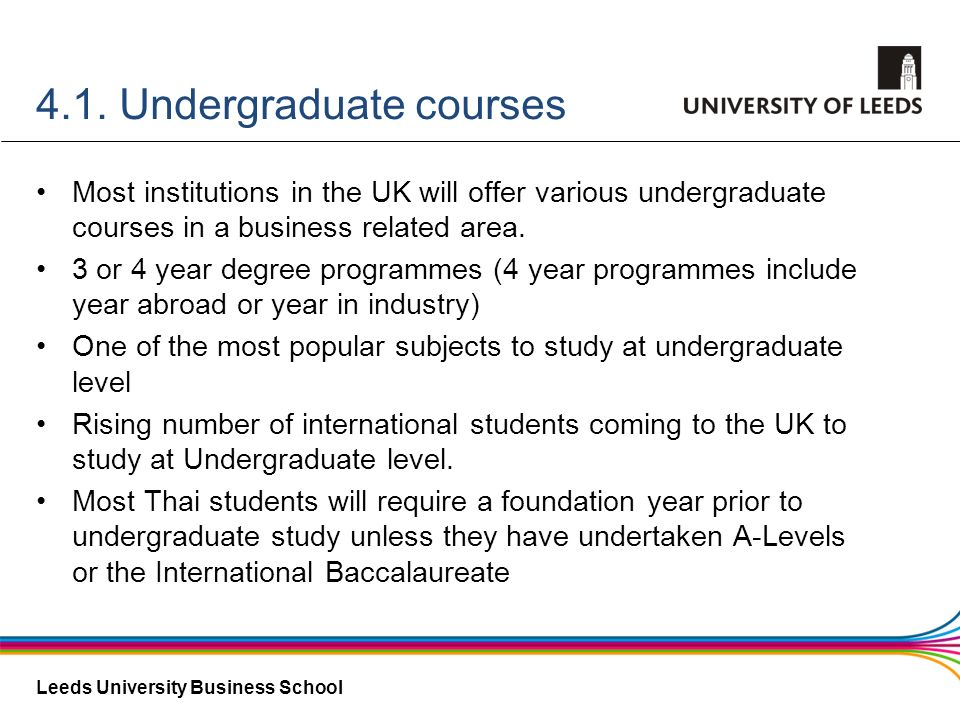 Leeds University Business School 4.1. Undergraduate courses Most institutions in the UK will offer various undergraduate courses in a business related