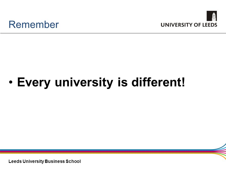 Leeds University Business School Remember Every university is different!