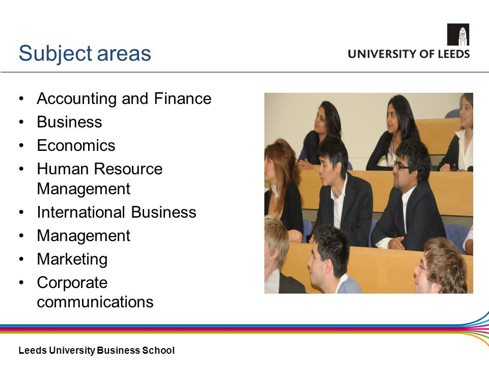 Leeds University Business School Subject areas Accounting and Finance Business Economics Human Resource Management International Business Management M