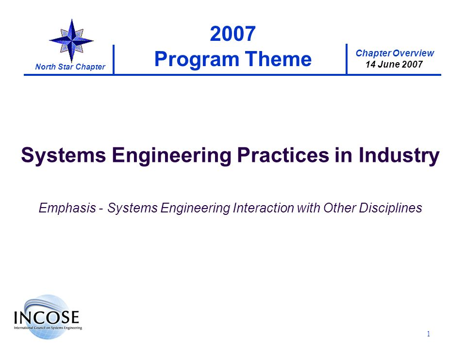 Chapter Overview 14 June 2007 North Star Chapter Program Theme Systems Engineering Practices in Industry Emphasis - Systems Engineering Interaction with Other Disciplines