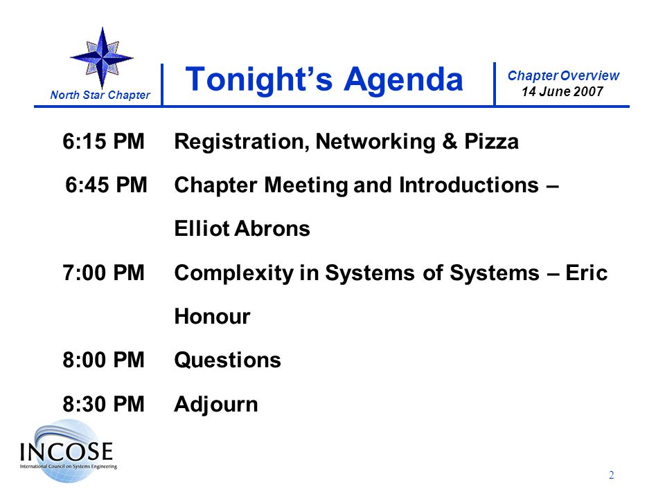 Chapter Overview 14 June 2007 North Star Chapter 2 Tonights Agenda 6:15 PMRegistration, Networking & Pizza 6:45 PMChapter Meeting and Introductions – Elliot Abrons 7:00 PMComplexity in Systems of Systems – Eric Honour 8:00 PMQuestions 8:30 PMAdjourn