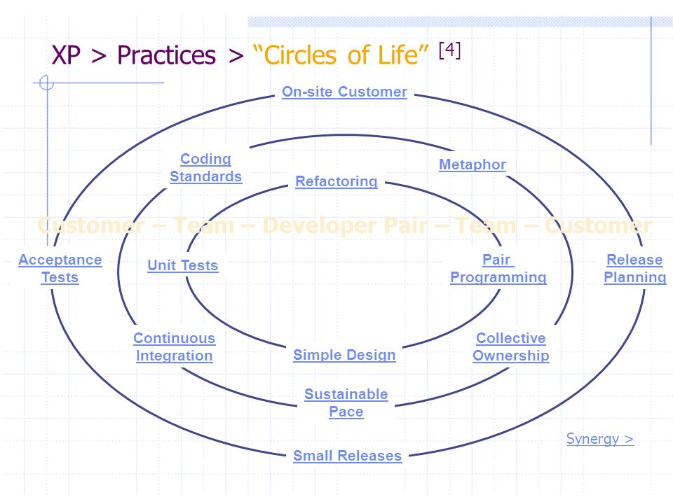 XP > Practices > Circles of Life [4] On-site Customer Release Planning Small Releases Acceptance Tests Pair Programming Unit Tests Refactoring Simple
