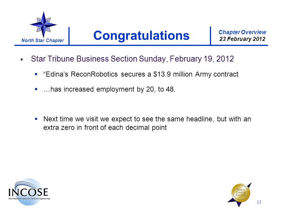 Chapter Overview 23 February 2012 North Star Chapter Star Tribune Business Section Sunday, February 19, 2012 Edinas ReconRobotics secures a $13.9 million Army contract …has increased employment by 20, to 48.