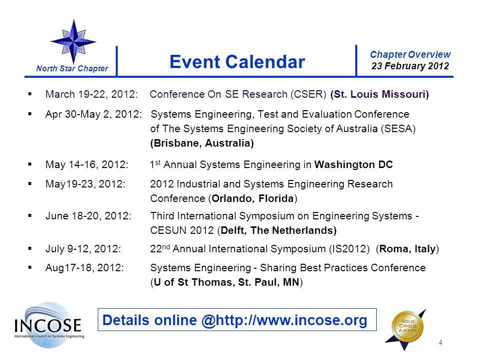 Chapter Overview 23 February 2012 North Star Chapter 4 Event Calendar Details online @http://www.incose.org March 19-22, 2012: Conference On SE Research (CSER) (St.