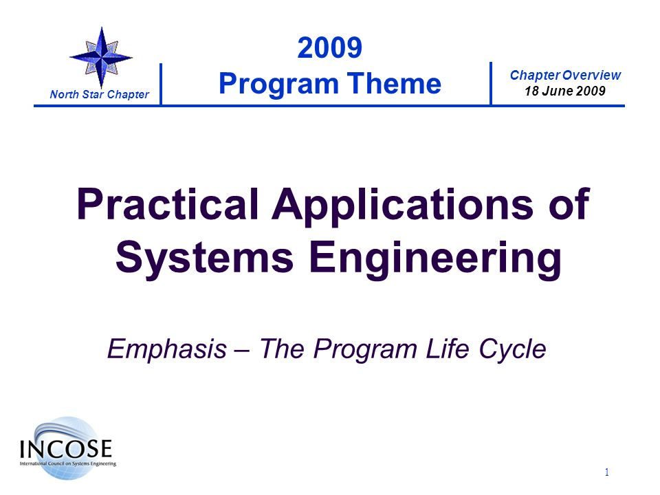 Chapter Overview 18 June 2009 North Star Chapter 2 Tonights Agenda 6:15 PM – Registration, Networking, Timber Lodge Appetizers 6:45 PM – Welcome and Chapter Overview Neill Radke, Chapter Co-President 7:00 PM – Application of a Global Systems Engineering Competency Framework; INCOSE 2009 Paper Eileen Arnold 7:45 PM – Personal Rapid Transit Design and Progress Dr.