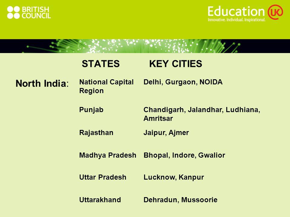 STATES KEY CITIES North India: National Capital Region Delhi, Gurgaon, NOIDA PunjabChandigarh, Jalandhar, Ludhiana, Amritsar RajasthanJaipur, Ajmer Madhya PradeshBhopal, Indore, Gwalior Uttar PradeshLucknow, Kanpur UttarakhandDehradun, Mussoorie