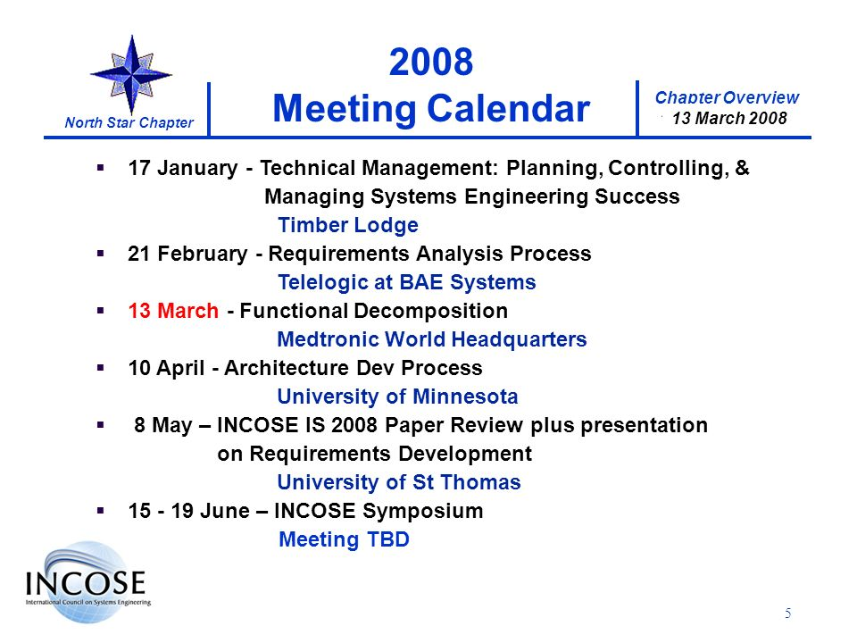 Chapter Overview 17 January 2008 North Star Chapter 13 March 2008 5 17 January - Technical Management: Planning, Controlling, & Managing Systems Engineering Success Timber Lodge 21 February - Requirements Analysis Process Telelogic at BAE Systems 13 March - Functional Decomposition Medtronic World Headquarters 10 April - Architecture Dev Process University of Minnesota 8 May – INCOSE IS 2008 Paper Review plus presentation on Requirements Development University of St Thomas 15 - 19 June – INCOSE Symposium Meeting TBD 2008 Meeting Calendar