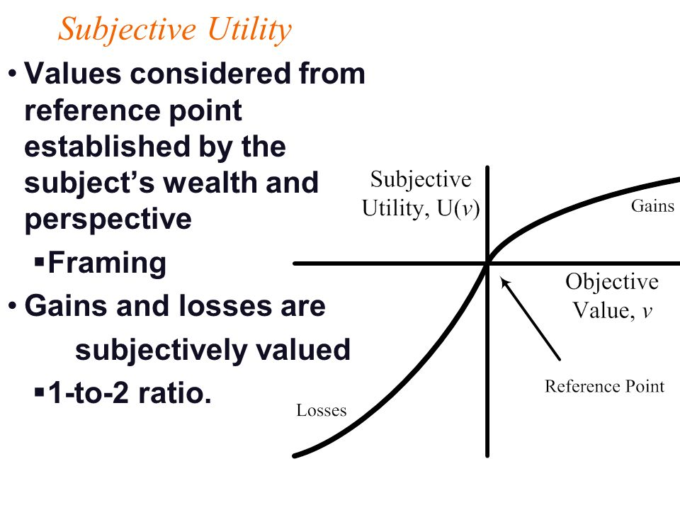 20 2/7/2014 Subjective Utility Values considered from reference point established by the subjects wealth and perspective Framing Gains and losses are