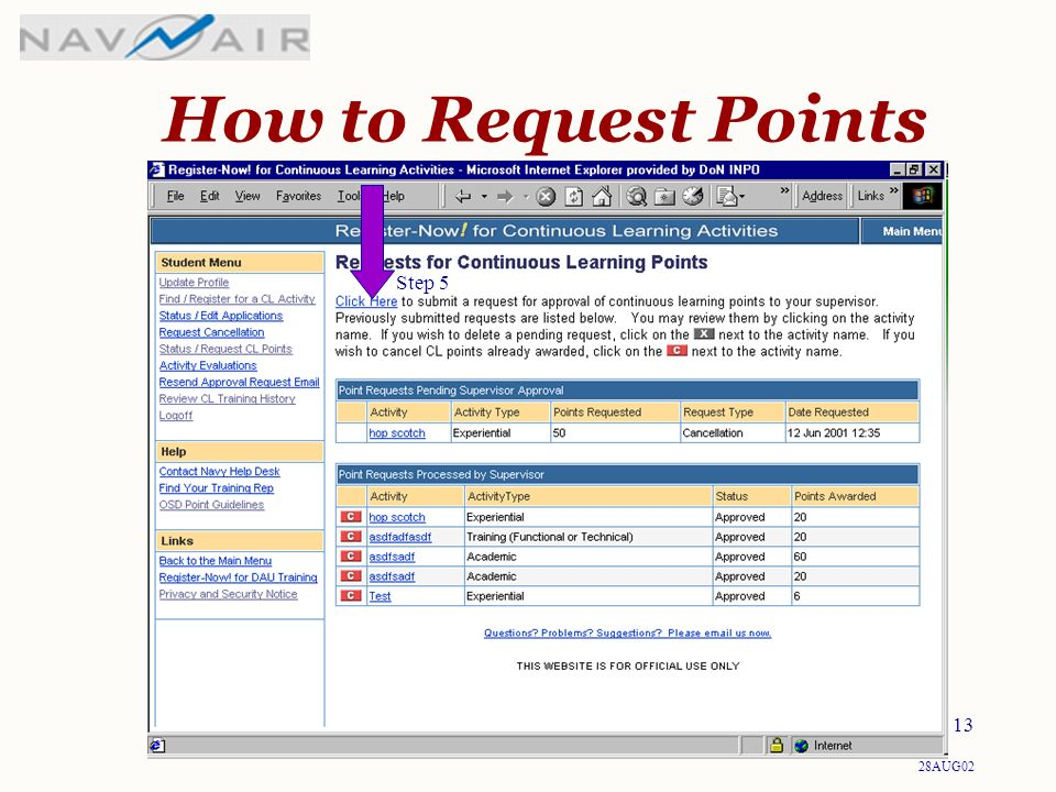 28AUG02 13 How to Request Points Step 5