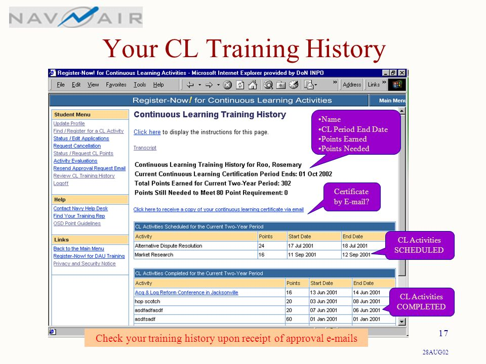 28AUG02 17 Check your training history upon receipt of approval  s Your CL Training History Certificate by  .
