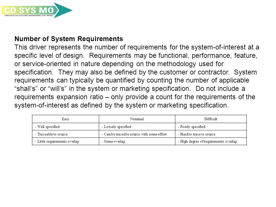 Number of System Requirements This driver represents the number of requirements for the system-of-interest at a specific level of design. Requirements