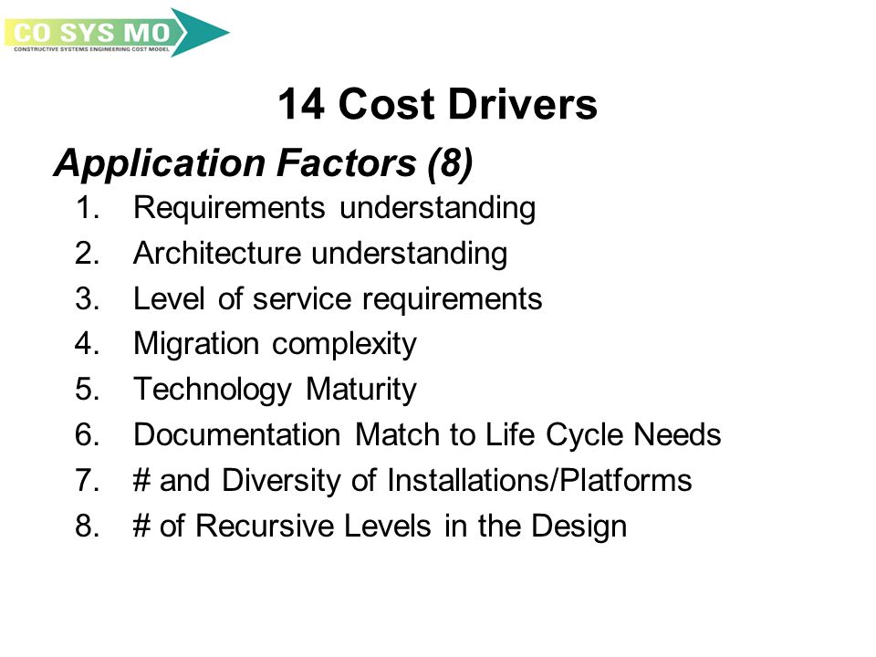 14 Cost Drivers 1. Requirements understanding 2. Architecture understanding 3. Level of service requirements 4. Migration complexity 5. Technology Mat