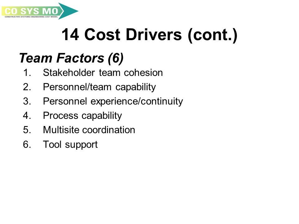 14 Cost Drivers (cont.) 1. Stakeholder team cohesion 2. Personnel/team capability 3. Personnel experience/continuity 4. Process capability 5. Multisit