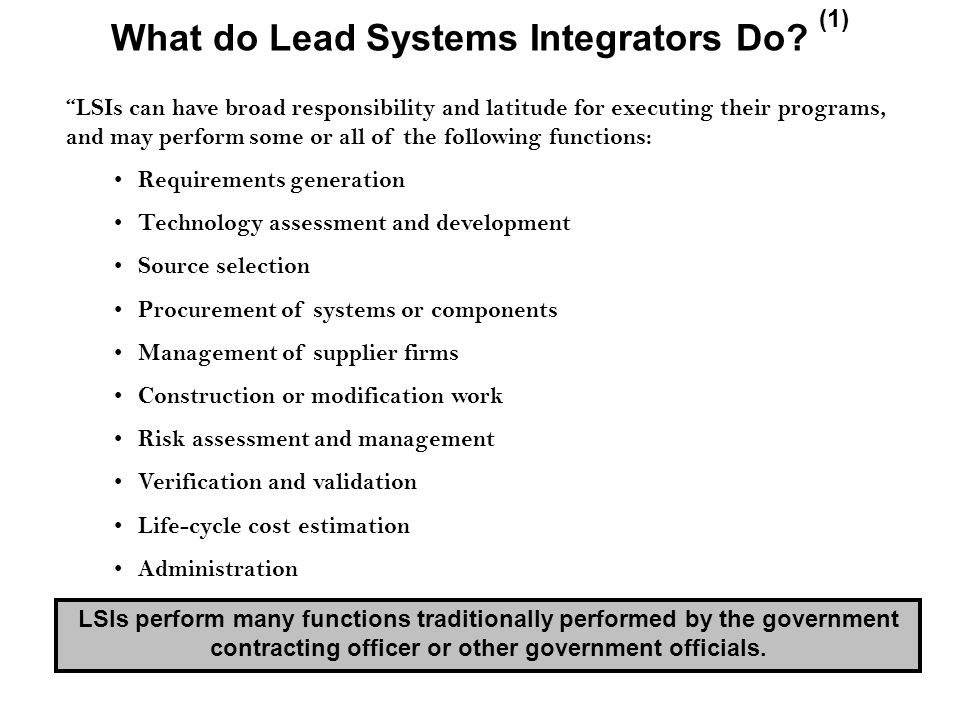 What do Lead Systems Integrators Do.