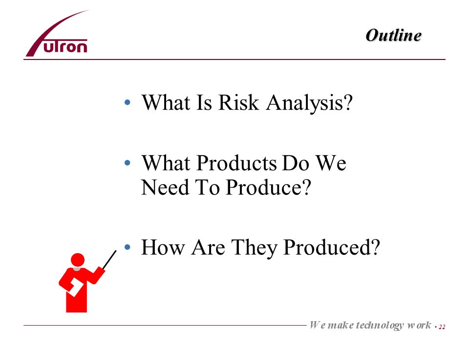 22 Outline What Is Risk Analysis? What Products Do We Need To Produce? How Are They Produced?