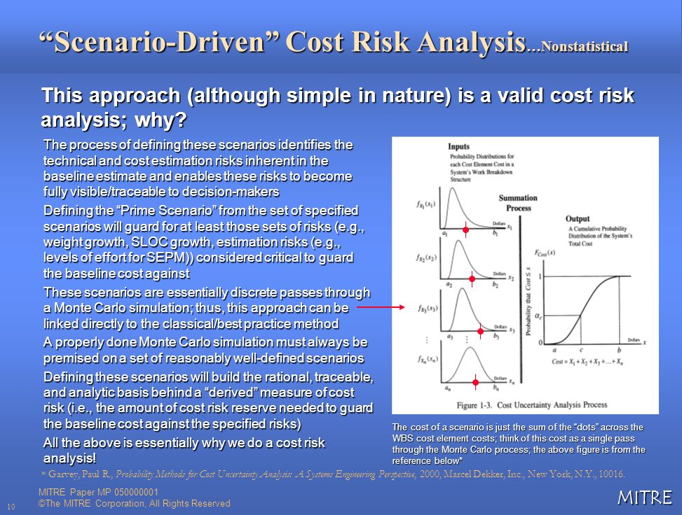 MITRE 10 Scenario-Driven Cost Risk Analysis …Nonstatistical This approach (although simple in nature) is a valid cost risk analysis; why? The process