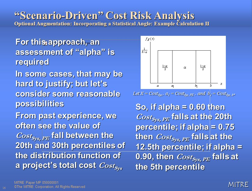 MITRE 16 Scenario-Driven Cost Risk Analysis Optional Augmentation: Incorporating a Statistical Angle: Example Calculation II For this approach, an ass