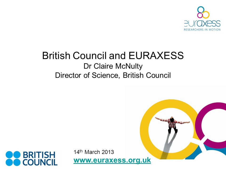 British Council and EURAXESS Dr Claire McNulty Director of Science, British Council www.euraxess.org.uk 14 th March 2013