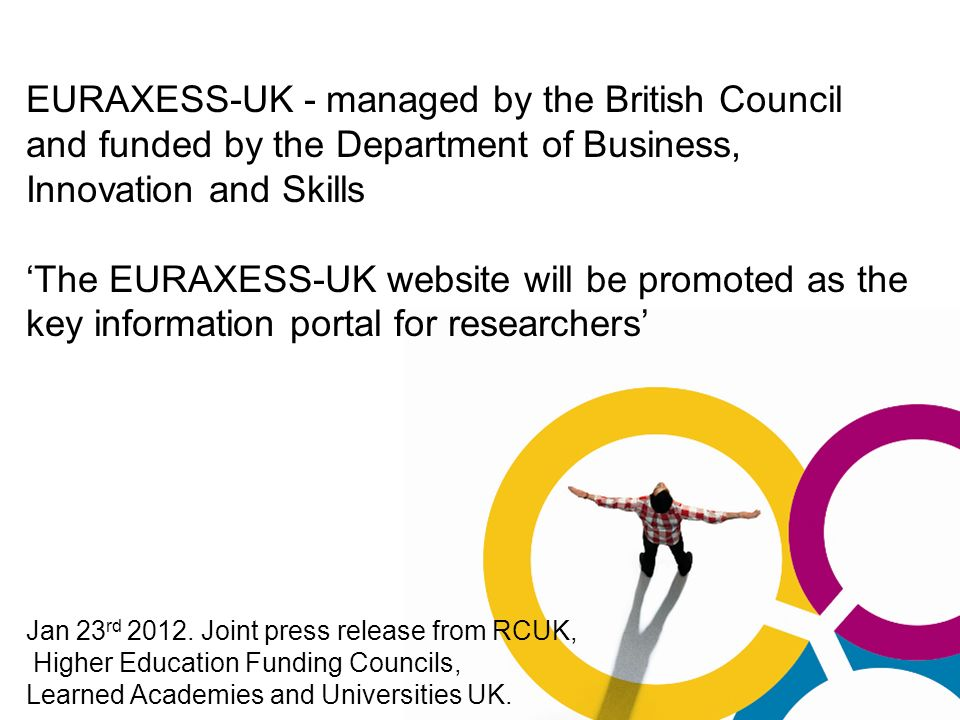 EURAXESS-UK - managed by the British Council and funded by the Department of Business, Innovation and Skills The EURAXESS-UK website will be promoted