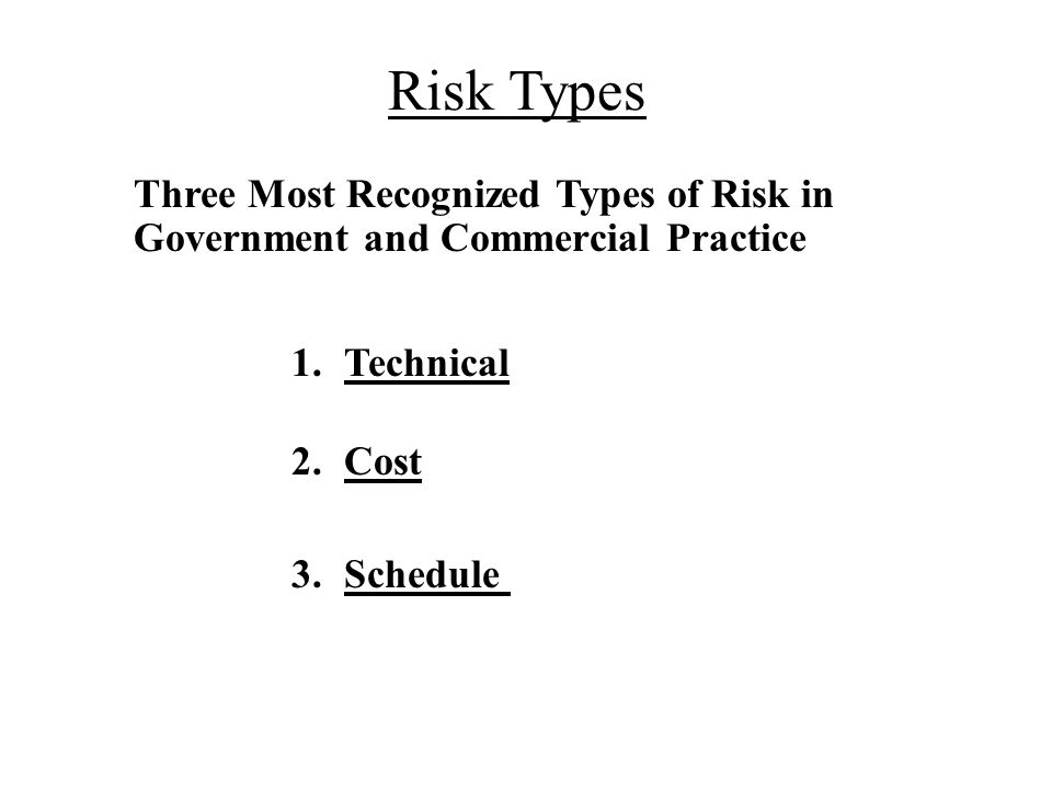 Risk Types Three Most Recognized Types of Risk in Government and Commercial Practice 1.Technical 2.Cost 3.Schedule