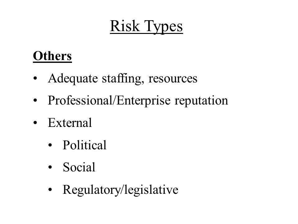 Risk Types Others Adequate staffing, resources Professional/Enterprise reputation External Political Social Regulatory/legislative
