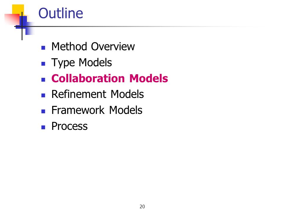 20 Outline Method Overview Type Models Collaboration Models Refinement Models Framework Models Process