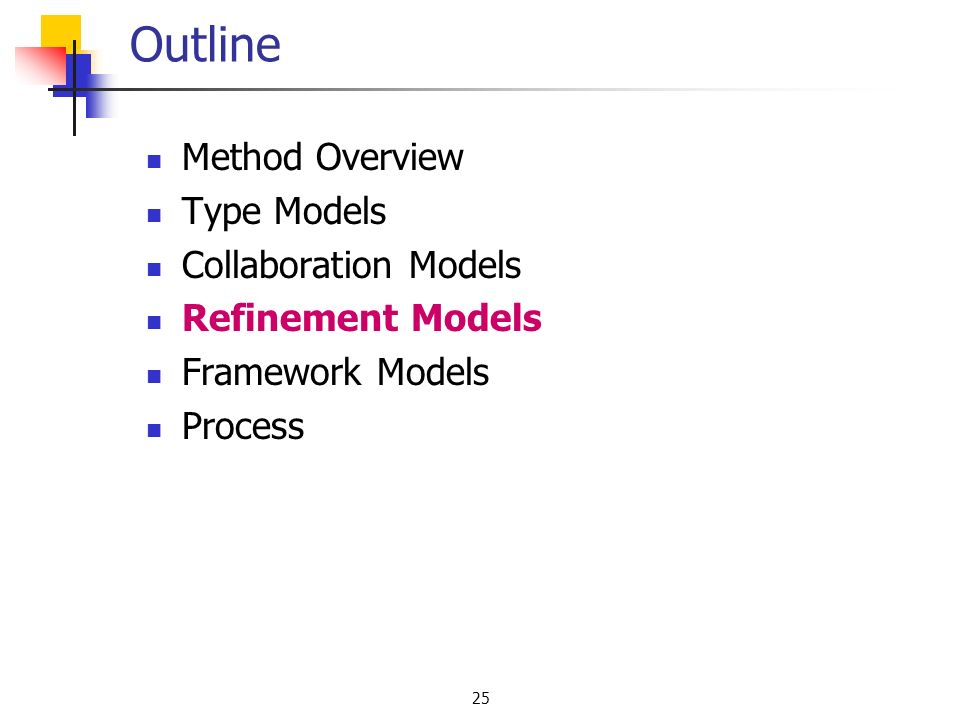 25 Outline Method Overview Type Models Collaboration Models Refinement Models Framework Models Process
