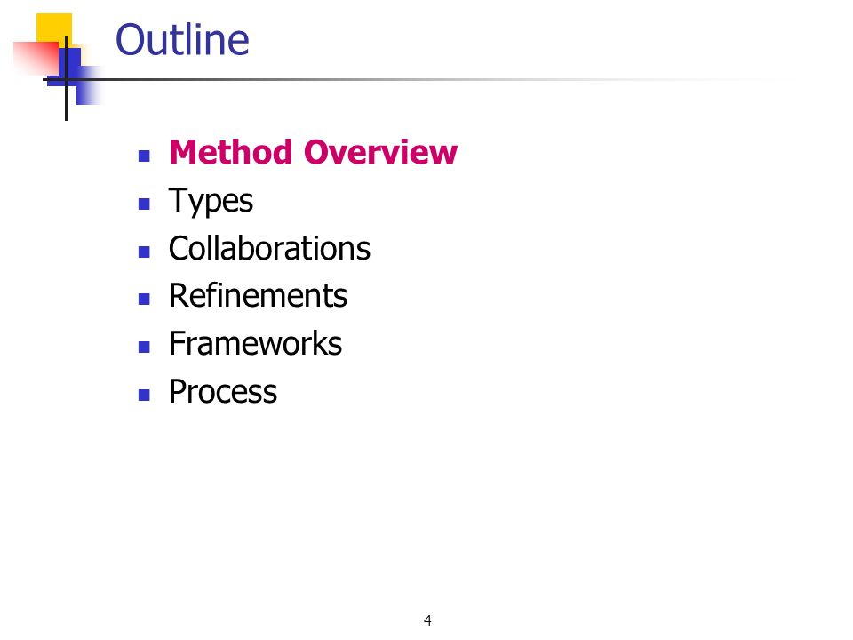 4 Outline Method Overview Types Collaborations Refinements Frameworks Process