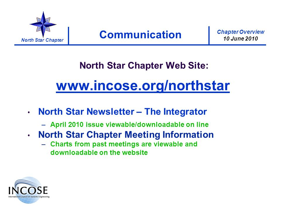 Chapter Overview 10 June 2010 North Star Chapter Communication North Star Chapter Web Site:   North Star Newsletter – The Integrator –April 2010 issue viewable/downloadable on line North Star Chapter Meeting Information –Charts from past meetings are viewable and downloadable on the website