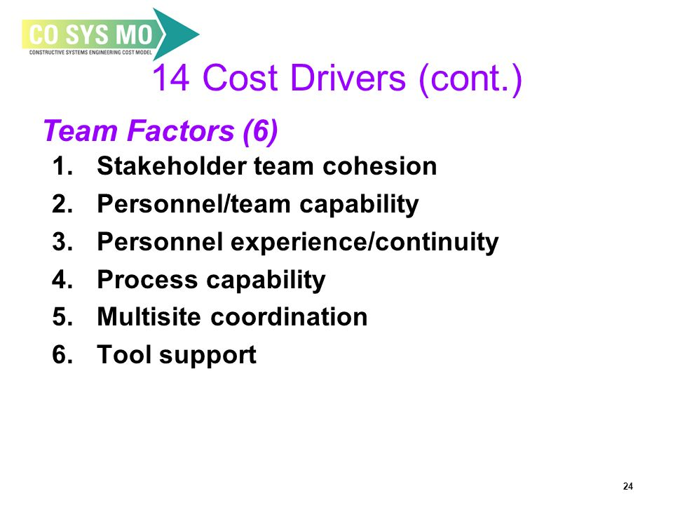 24 14 Cost Drivers (cont.) 1. Stakeholder team cohesion 2. Personnel/team capability 3. Personnel experience/continuity 4. Process capability 5. Multi