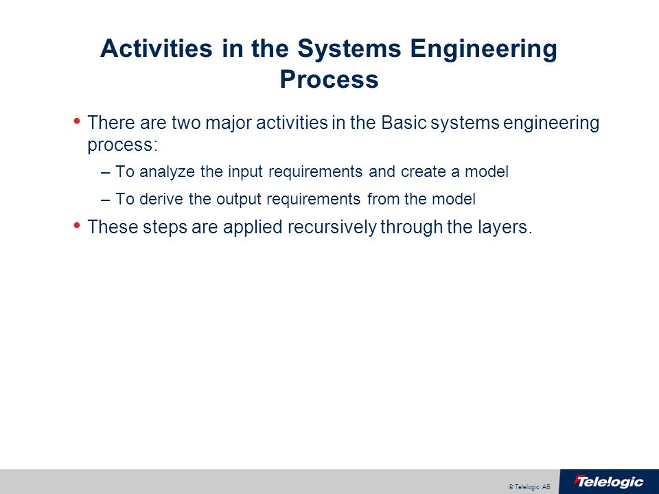 © Telelogic AB Activities in the Systems Engineering Process There are two major activities in the Basic systems engineering process: –To analyze the input requirements and create a model –To derive the output requirements from the model These steps are applied recursively through the layers.