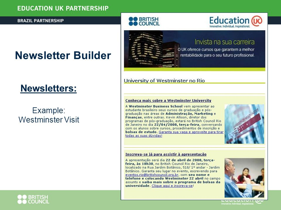 Newsletters: Example: Westminster Visit Newsletter Builder
