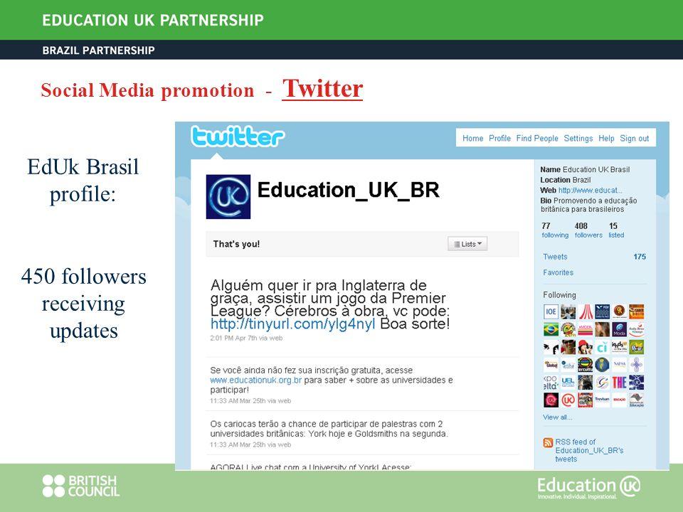 Social Media promotion - Twitter EdUk Brasil profile: 450 followers receiving updates