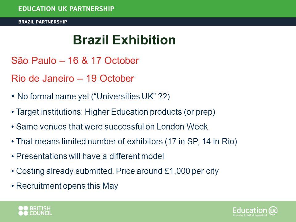 Brazil Exhibition São Paulo – 16 & 17 October Rio de Janeiro – 19 October No formal name yet (Universities UK ??) Target institutions: Higher Educatio