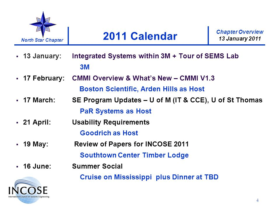 Chapter Overview 13 January 2011 North Star Chapter 13 January:Integrated Systems within 3M + Tour of SEMS Lab 3M 17 February:CMMI Overview & Whats New – CMMI V1.3 Boston Scientific, Arden Hills as Host 17 March:SE Program Updates – U of M (IT & CCE), U of St Thomas PaR Systems as Host 21 April: Usability Requirements Goodrich as Host 19 May: Review of Papers for INCOSE 2011 Southtown Center Timber Lodge 16 June:Summer Social Cruise on Mississippi plus Dinner at TBD 4 2011 Calendar
