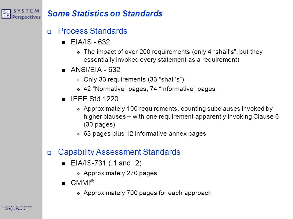 © 2001 Richard M. Harwell All Rights Reserved Some Statistics on Standards Process Standards EIA/IS - 632 The impact of over 200 requirements (only 4