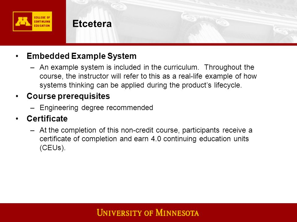 Etcetera Embedded Example System –An example system is included in the curriculum.